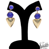 Gemstone With Gold Finding Dangle Stud Safiya Earring (90027)