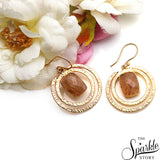 Gemstone With Round Gold Finding Dangle Stud Hera Earring (90016)