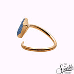 Agate Slice Druzy Gold Plated Free Form Shape  Adjustable Ring For Women and Girls