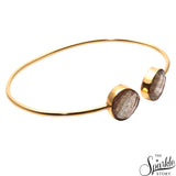 Copper Infused Gold Plated Heart Shape Adjustable Bangle Bracelet for Women and Girls