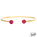 Pink Druzy Gold Plated Round Adjustable Alloy Bangle Bracelet