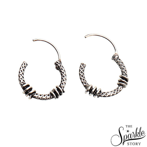 Antique Vintage Trible Silver Look Design Oxidised Silver Hoop Earring (DSS-90021)