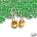 Citrine 15x9mm Sterling Silver Hook Earring