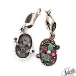 Victorian Style Ruby & Emerald Sterling Silver Earring