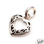 Oxidized Sterling Silver Heart Shape 21x17mm Pendant Jewelry