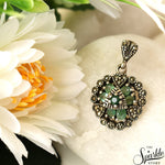 Victorian Style Emerald Sterling Silver Pendant