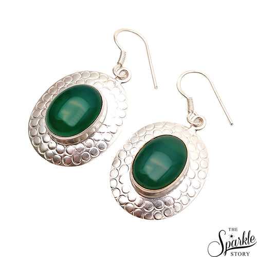 Green Onyx 32x24mm Sterling Silver Hook Earring