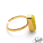 Lemon Druzy Rectangle Shape Gold Plated Open Adjustable Ring For Women and Girls