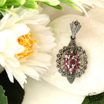 Victorian Style Ruby Sterling Silver Pendant