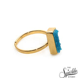 Light Blue Druzy Rectangle Shape Gold Plated Open Adjustable Ring For Women and Girls