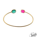 Green Onyx & Pink Gold Plated Adjustable Alloy Bangle Bracelet for Women and Girls