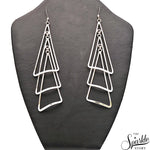 Plain Sterling Silver Triangle Long Dangle Hook Earring