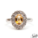 Citrine Gemstone Sterling Silver Oval Shape Ring