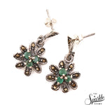Emerald Sterling Silver Pendant Earring & Ring Jewelry Set