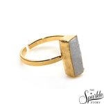 White Druzy Rectangle Shape Gold Plated Open Adjustable Ring For Women and Girls