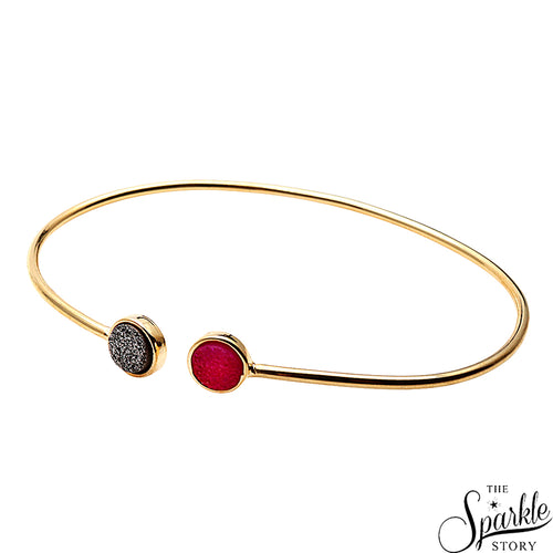 Platinum & Green Druzy Gold Plated Adjustable Alloy Bangle Bracelet for Women and Girls