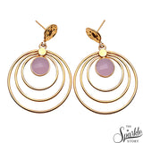 ROSE CHALCEDONY DANGLE EARRING GOLD PLATED
