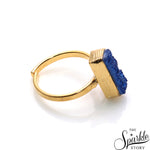 Blue Druzy Rectangle Shape Gold Plated Open Adjustable Ring For Women and Girls