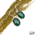 Green Onyx 21x13mm Sterling Silver Hook Earring