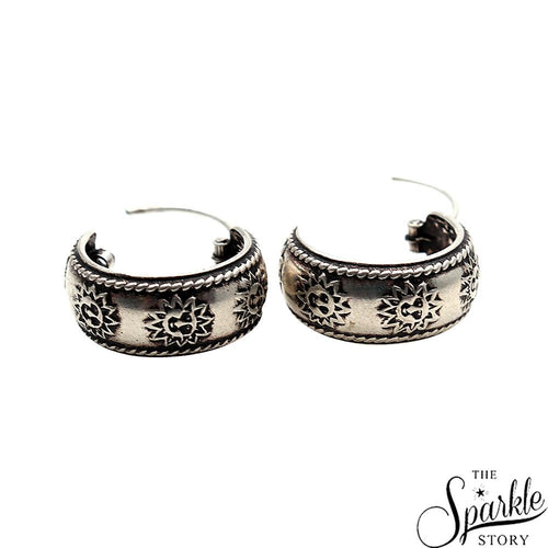Antique Vintage Sun Motif Silver Look Design Oxidised Silver Hoop Earring (DSS-90064)
