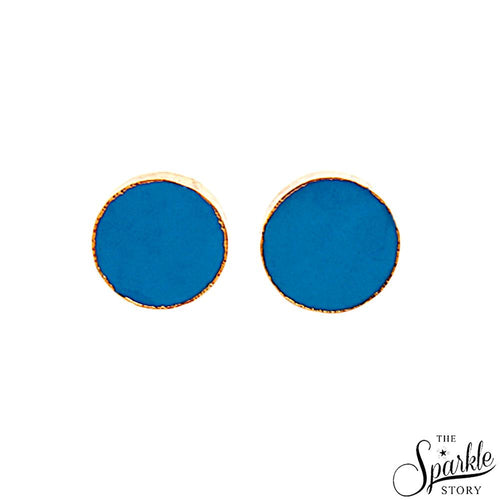 The Sparkle Story Turquoise Gold Plated Round Shape Stud & Earring (DTQ-90012)