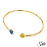 Blue & Lemon Druzy Gold Plated Round Adjustable Alloy Bangle Bracelet