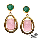 Rose Chalcedony & Green Onyx Gold Plated Finding Dangle Stud Osiris Earring (DGDER-90002)