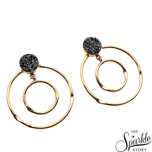 Platinum Druzy Gold Plated Round Shape Dangle Earrings for Women and Girls
