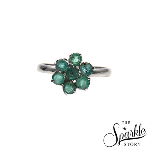 The Sparkle Story Emerald Flower Statement Sterling Silver Ring (DSS-12024)