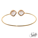 Copper Infused Gold Plated Cushion Shape Adjustable Bangle Bracelet for Women and Girls