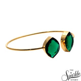 Emerald Gold Plated Adjustable Bangle Bracelet for Women and Girls