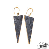 Multi Sediment jasper Triangle Shape Gold Plated Dangle Earrings for Women and Girls