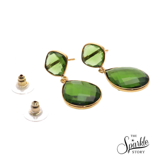 Hydro Peridot Gold Plated Pears & Cushion Shape Dangle Alloy Earrings for Women and Girls