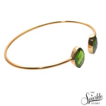 Peridot Bangle Gold Plated Adjustable Bangle Bracelet for Women and Girls