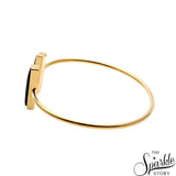Black Onyx Gold Plated Rectangle Shape Adjustable Bangle Bracelet for Women and Girls