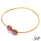 Hydro Amethyst Gold Plated Round Shape Interlock Alloy Bangle Bracelet