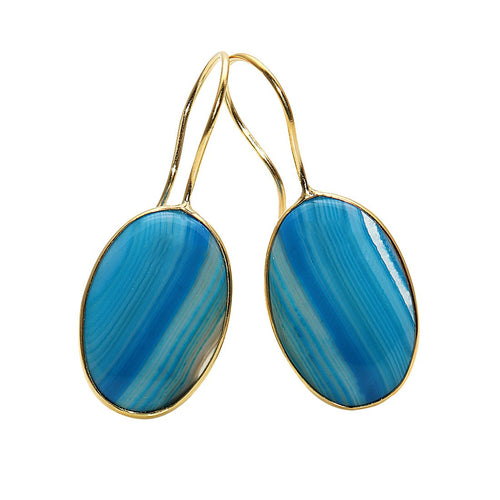 Druzy Cabs 37x15mm Gold Plated Dangle Hook Earring ( Pick Your Color)