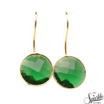 Hydro Emerald Gold Plated Round Shape Alloy Dangle Earrings