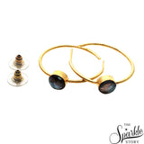 Labradorite Round Shape Gold Plated Hoop Earring