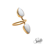 White Agate Pear Shape Gold Plated Adjustable Ring