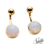 Gemstone With Round Gold Finding Dangle Stud Asteria Earring (90017)
