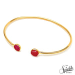 Pink & Hot Pink Druzy Gold Plated Round Adjustable Alloy Bangle Bracelet