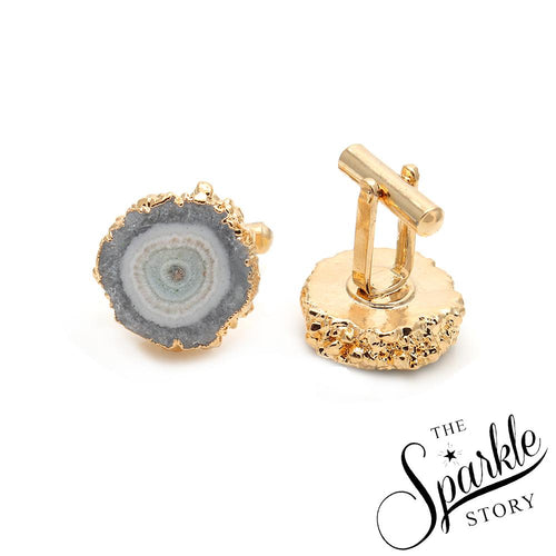 White Druzy Gold Plated Geode Cufflinks  (DDC-90005)