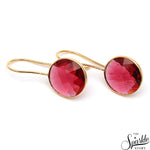 Pink Tourmaline Gold Plated Round Shape Alloy Dangle Earrings
