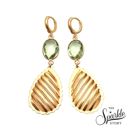 Green Amethyst Gold Plated Oval Shape Dangle Alloy Earrings for Women and Girls