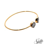 Silver Druzy Gold Plated Cushion Shape Adjustable Bangle Bracelet for Women and Girls