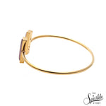Rose Chalcedony Gold Plated Rectangle Shape Adjustable Bangle Bracelet for Women and Girls