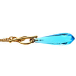 Blue Topaz 36x8mm Gold Plated Necklace