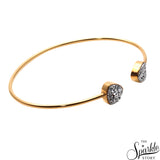 Sliver Druzy Gold Plated Trillion Shape Adjustable Bangle Bracelet for Women and Girls