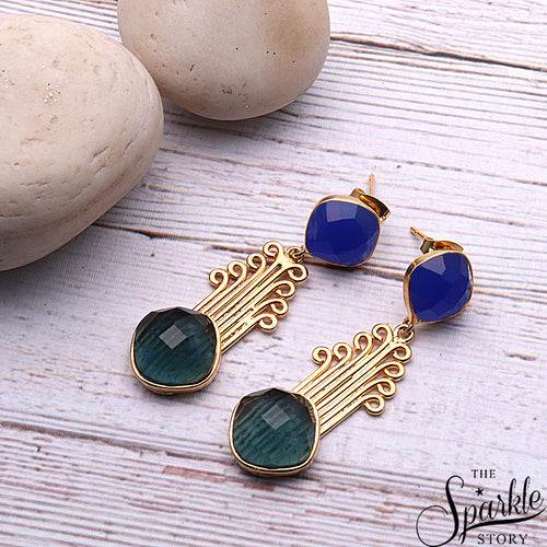 Gemstone Cushion Shape Gold Finding Dangle Earring (Pick Stone)